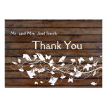 Dark Brown Wood Look White Floral  thank you card