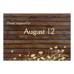 Dark Brown Wood rsvp with envelopes Personalized Invite