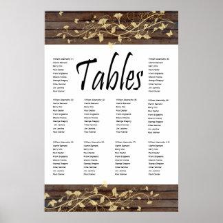 Dark Brown Wood Seating Chart Posters