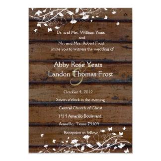 Dark Brown Wood, White Floral Wedding Invitation