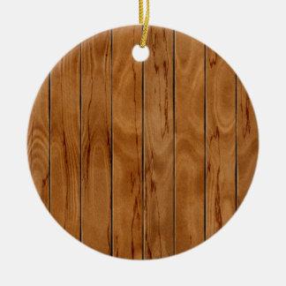 Dark brown wooden floor texture christmas ornament