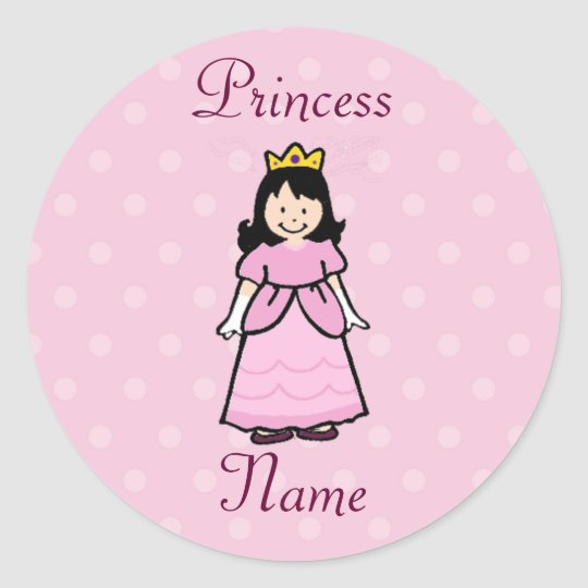 Dark Brunette Princess Stickers