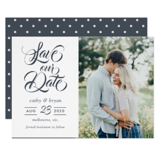 Dark brush typography photo save the date card