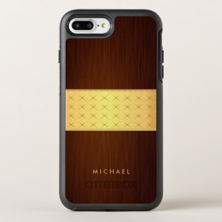 Dark Brushed Rosewood Wood Look with Gold Band OtterBox Symmetry iPhone 7 Plus Case