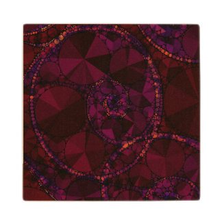 Dark Burgundy Bling Abstract Wood Coaster