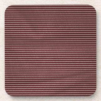 dark burgundy red stripes beverage coaster