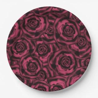 Dark Burgundy roses . 9 Inch Paper Plate
