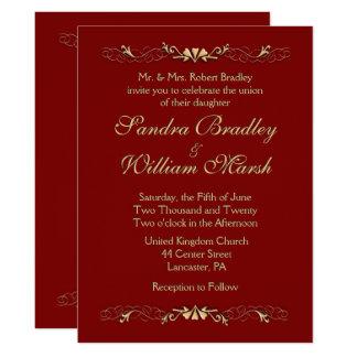 Dark Burgundy Wedding Invitation