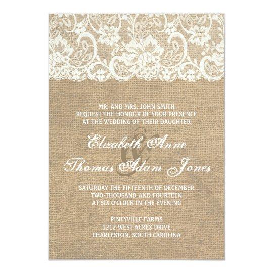 Dark Burlap and Lace Rustic Wedding Invitation