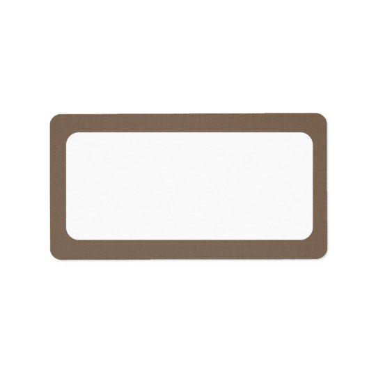 Dark Burlap Canvas | Blank Address Label