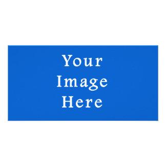 Dark Cerulean Blue Color Trend Blank Template Photo Cards