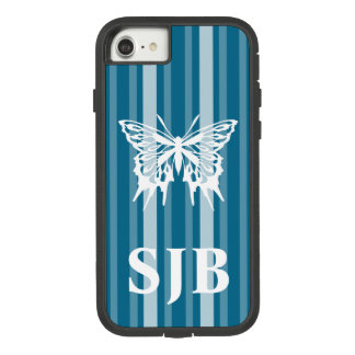 Dark Cerulean Victorian Stripe with Butterfly Case-Mate Tough Extreme iPhone 8/7 Case
