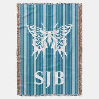 Dark Cerulean Victorian Stripe with Butterfly Throw Blanket