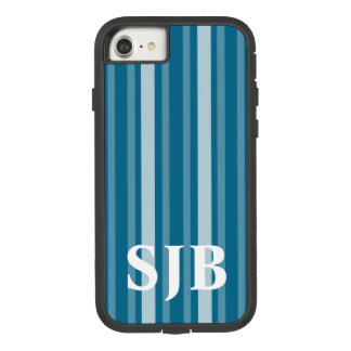 Dark Cerulean Victorian Stripe with Monogram Case-Mate Tough Extreme iPhone 8/7 Case