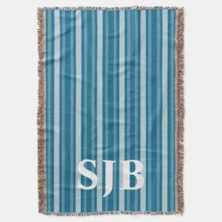 Dark Cerulean Victorian Stripe with Monogram Throw Blanket