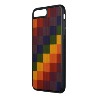 Dark Checkered Rainbow on Natural Wood Carved iPhone 8 Plus/7 Plus Case