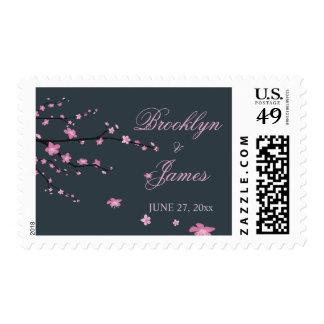 Dark Cherry Blossom Wedding Postage Stamps