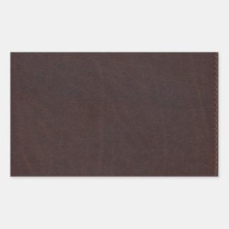 Dark Chestnut Brown Faux Leather Rectangular Sticker