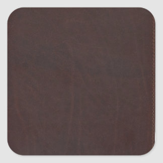 Dark Chestnut Brown Faux Leather Square Sticker