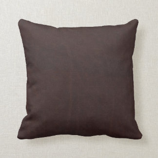 Dark Chestnut Brown Faux Leather Throw Pillow