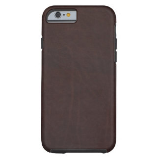 Dark Chestnut Brown Faux Leather Tough iPhone 6 Case