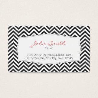 Dark Chevron Stripes Pilot/Aviator Business Card