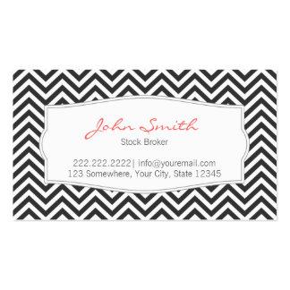 Dark Chevron Stripes Stock Broker Business Card