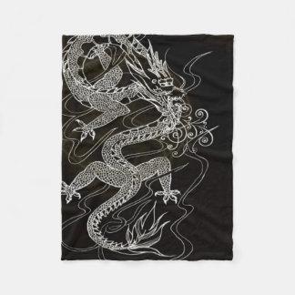 Dark Chinese Dragon Fleece Blanket