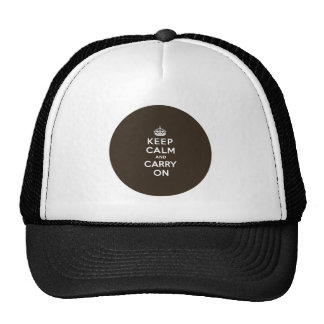 Dark Chocolate Brown Keep Calm and Carry On Hat