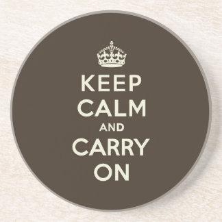 Dark Chocolate Keep Calm and Carry On Coaster