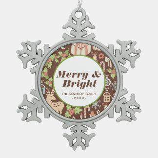 Dark Christmas background Snowflake Pewter Christmas Ornament