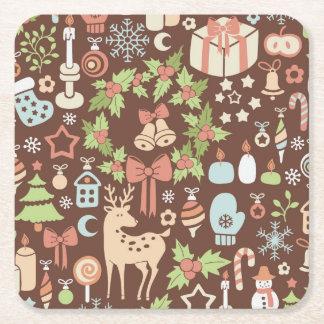 Dark Christmas background Square Paper Coaster