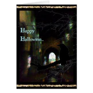 Dark Church and Raven Happy Haloween Cards