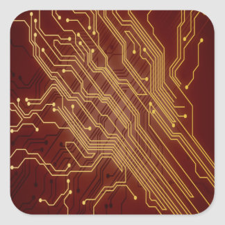 Dark Circuit Board Square Sticker