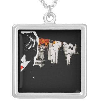 Dark city square pendant necklace
