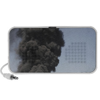 Dark clouds of smoke and fire emerge laptop speakers