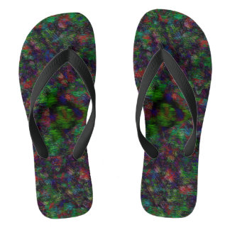 dark colored unique pattern flip flops
