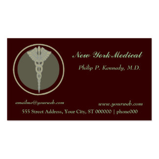Dark Colors Medical Caduceus Doctor Appointments Pack Of Standard Business Cards