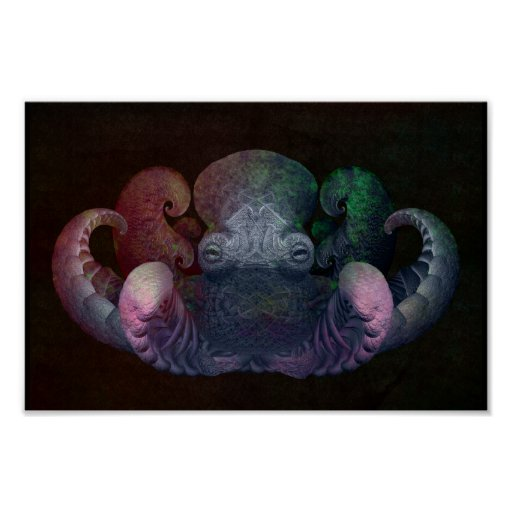 Dark Colourful Fractal Curly Octopus Composite Art Poster