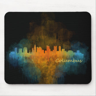 Dark Columbus Ohio, City Skyline, watercolor v4 Mouse Pad