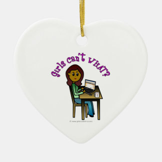 Dark Computer Girl Double-Sided Heart Ceramic Christmas Ornament