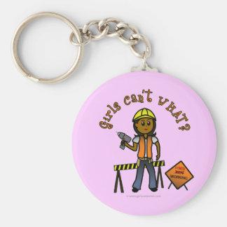 Dark Construction Girl Keychain