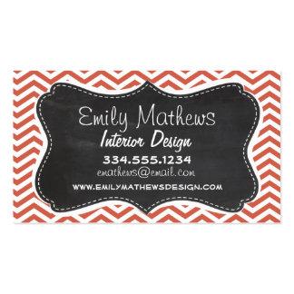 Dark Coral Chevron; Vintage Chalkboard Pack Of Standard Business Cards