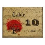 Dark Coral Heart Leaf Tree Table Number Postcard