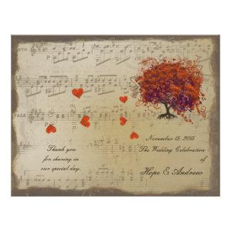 Dark Coral Heart Leaf Tree Wedding Program Custom Flyer