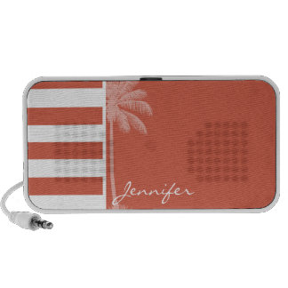 Dark Coral Horizontal Stripes; Palm iPhone Speaker