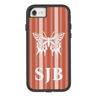 Dark Coral Victorian Stripe with Butterfly Case-Mate Tough Extreme iPhone 8/7 Case