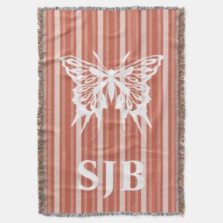 Dark Coral Victorian Stripe with Butterfly Throw Blanket