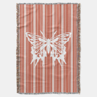 Dark Coral Victorian Stripe with Butterfly Throw Blanket