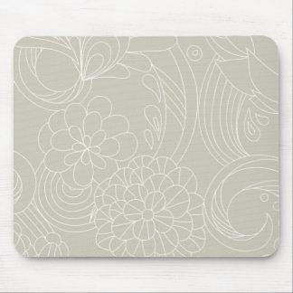 Dark Cream flower Lines Mousepad